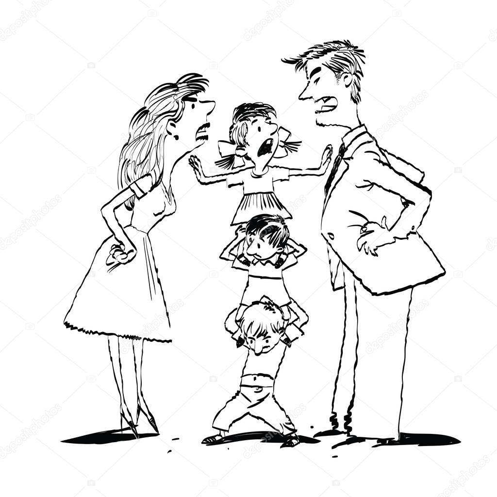 Dibujos Familia Peleando