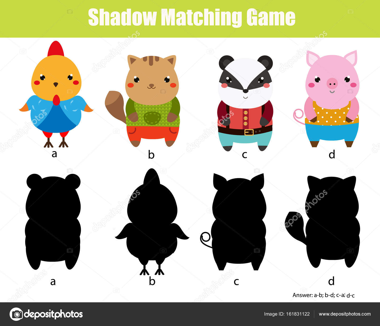 Shadow Matching Game Kids Activity Animals Theme