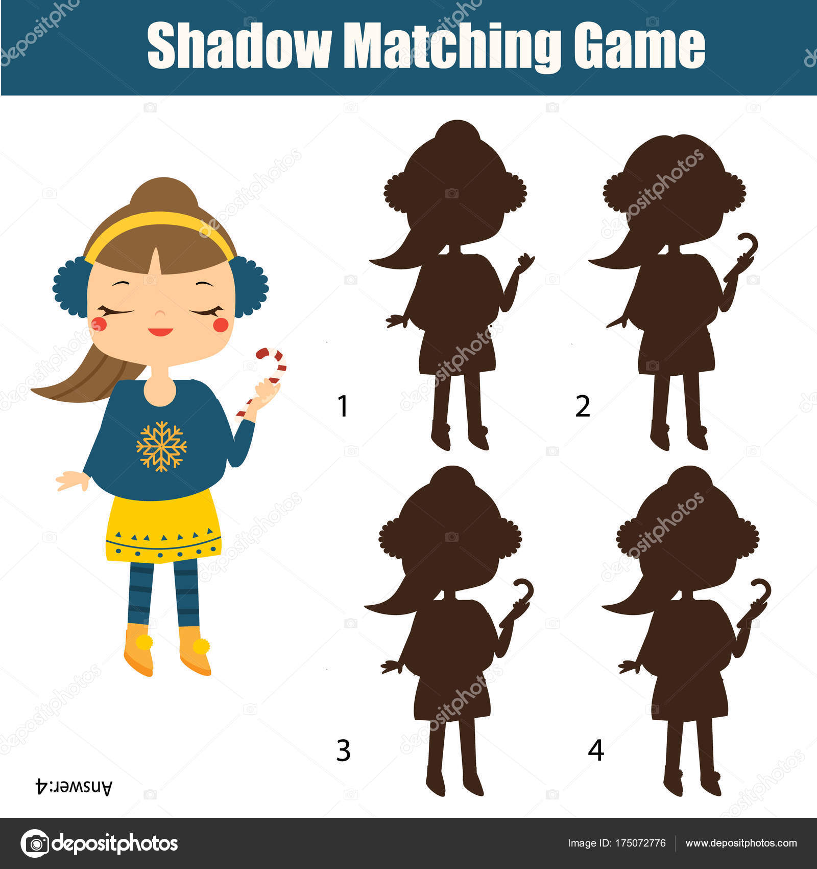 Shadow Matching Game Kids Activity With Girl Holding