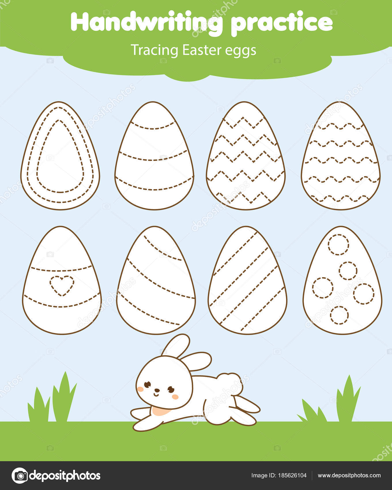 Easter Activity Tracing Lines For Toddlers Handwriting Practice Sheet Educational Children