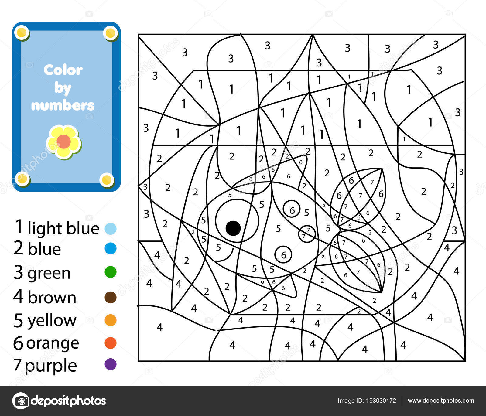 Children Educational Game Coloring Page Fish Bowl Color