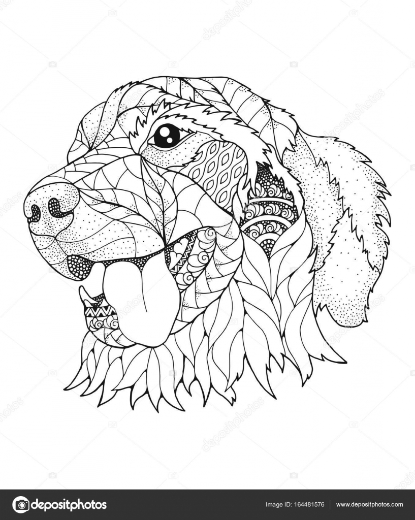 golden retriever dog in zentangle and stipple style