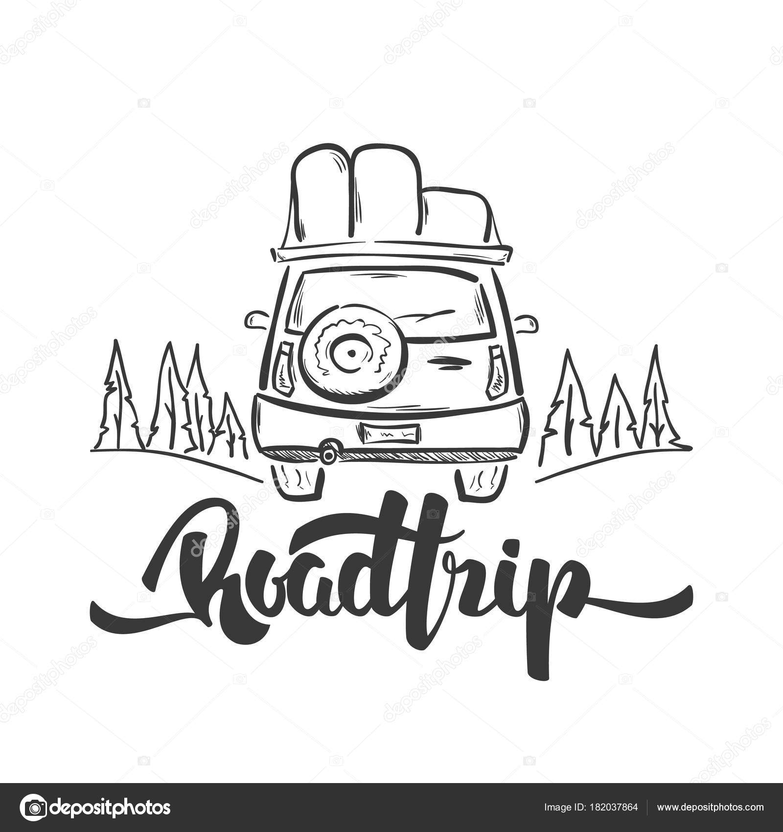Vector Illustration Hand Drawn Travel Car And Handwritten