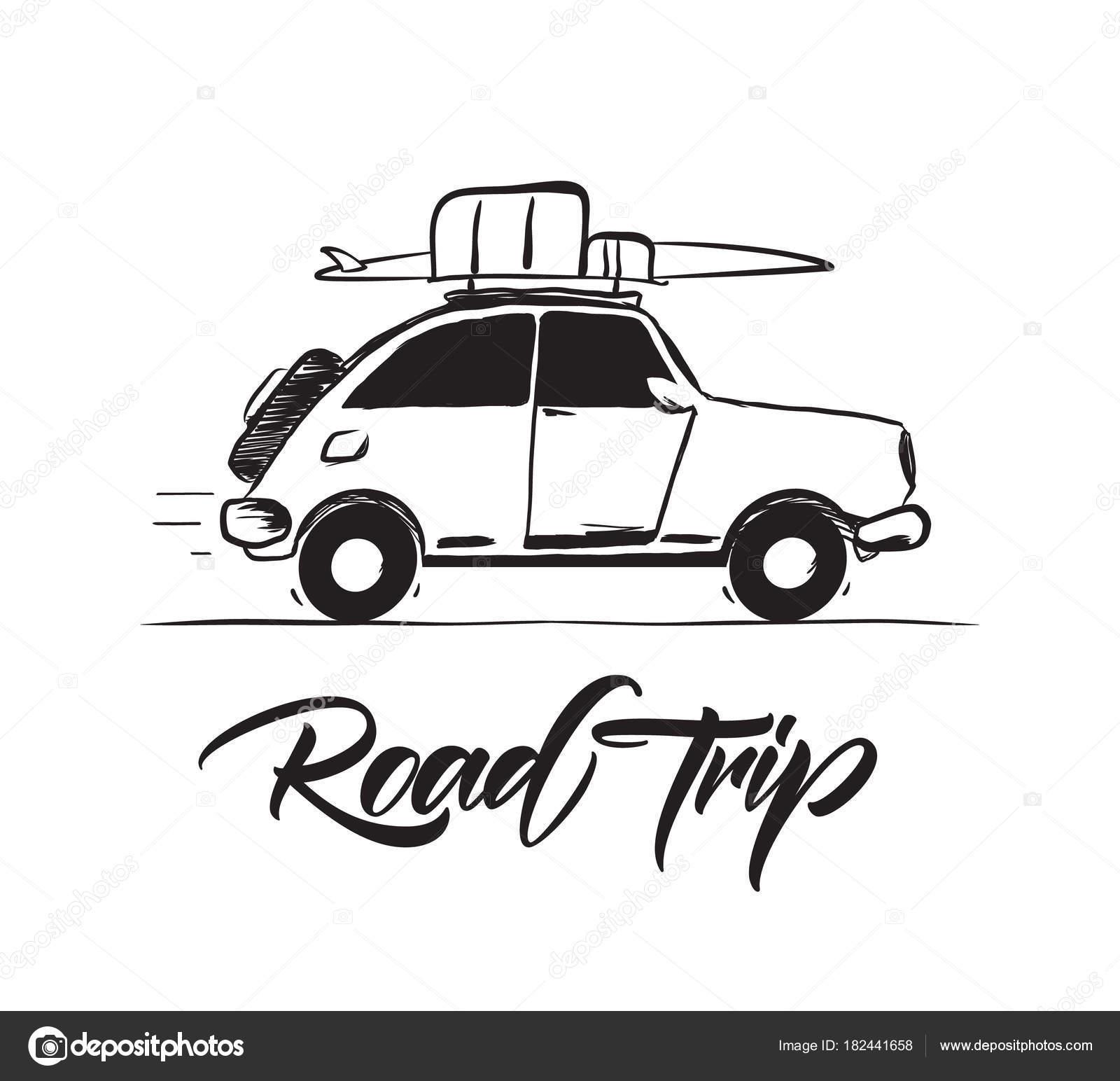 Vektor Illustration Handgezeichnete Reisen Retro Auto Mit