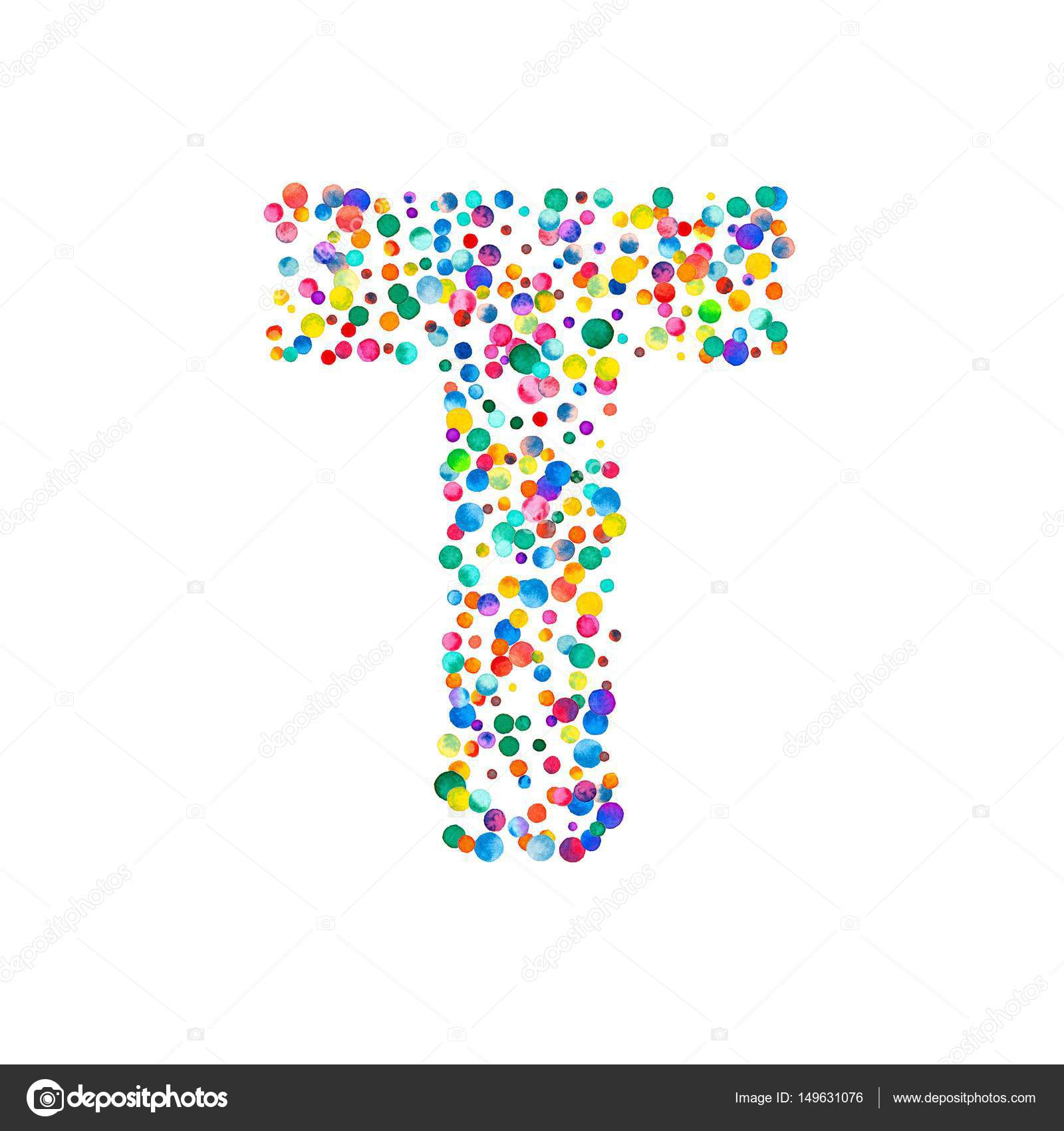 Letter T Filled With Dense Watercolor Confetti On White