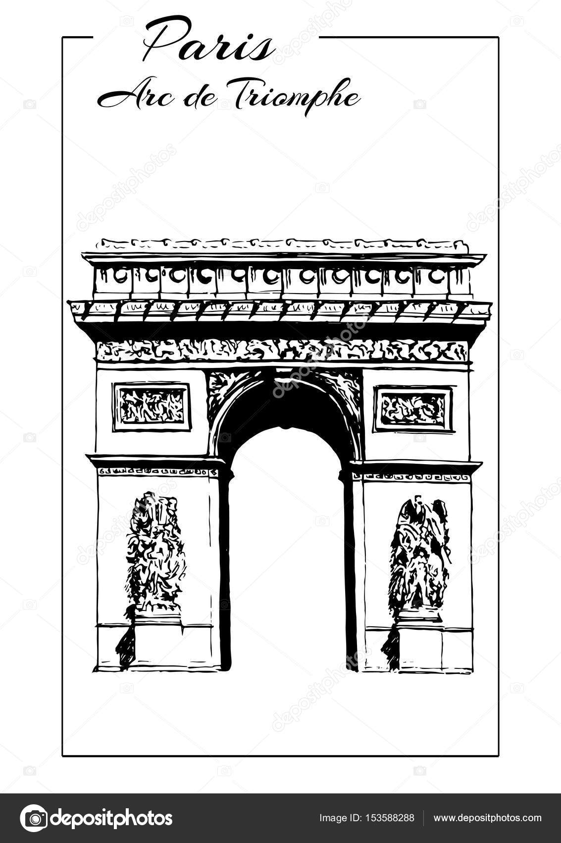 Arc De Triomphe Paris France Triumphal Arch Sketch