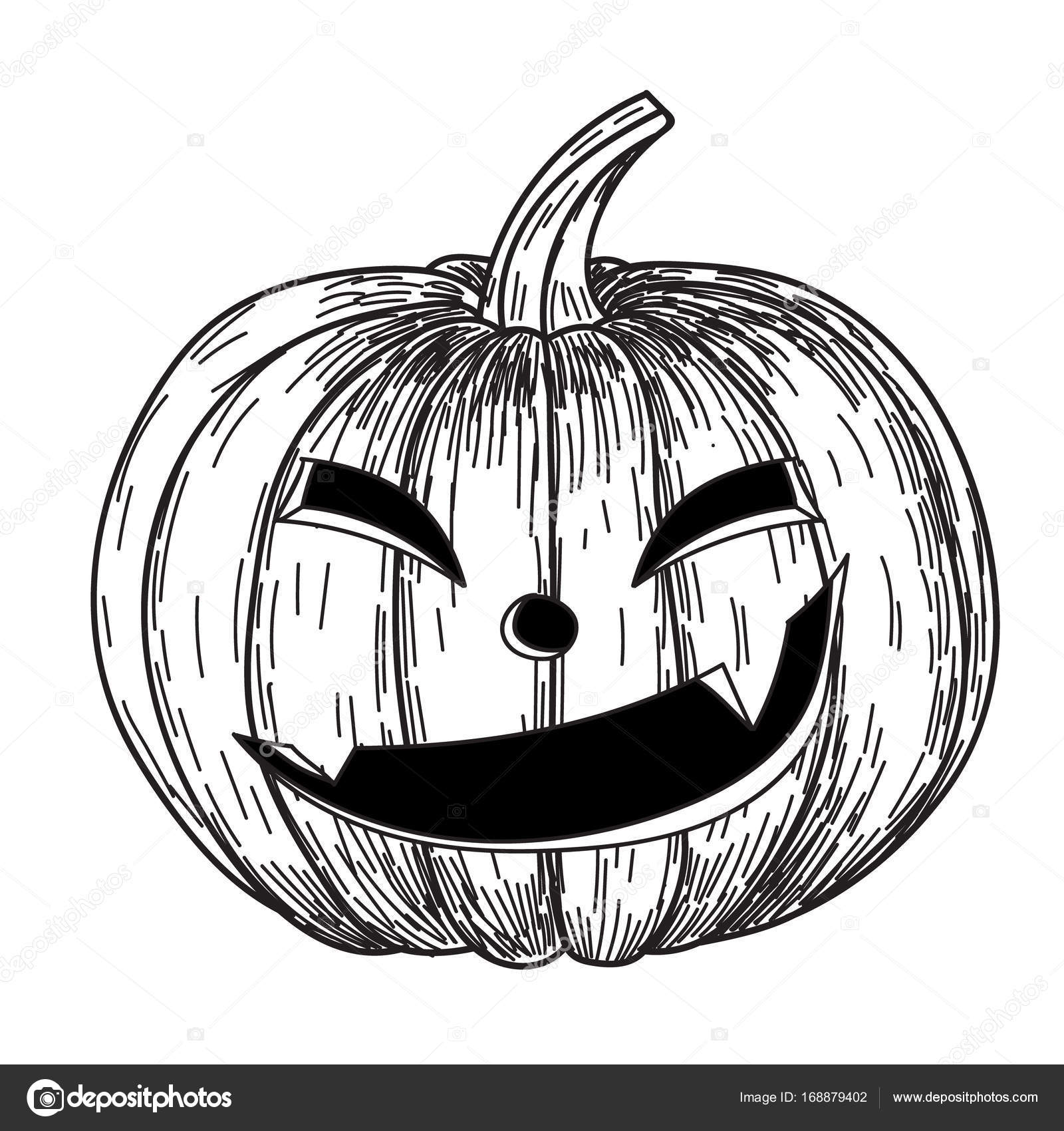 Halloween Pumpkin With Evil Scary Smile In Funny Hand