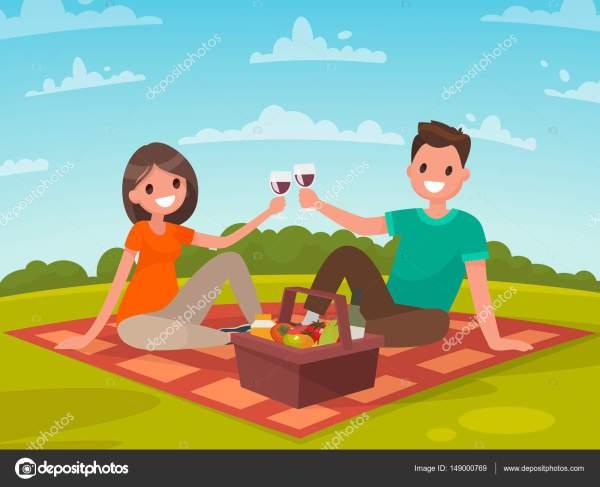 Счастливая пара молодых людей на пикник. Поездка в природе ...