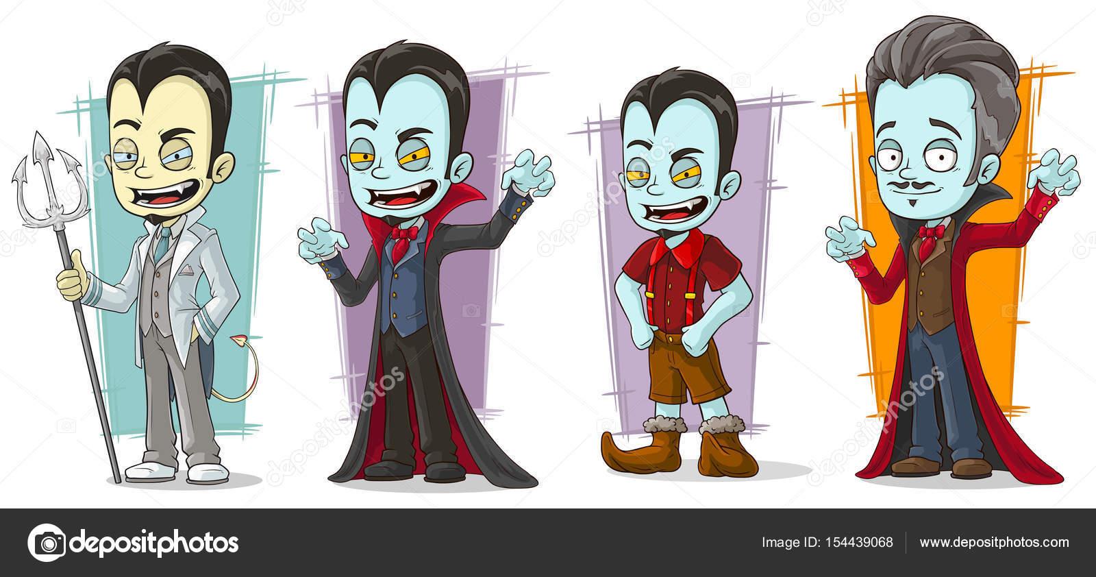 卡通可怕的蒼白吸血鬼家族特征向量集 — 圖庫矢量圖像© GB_Art #154439068