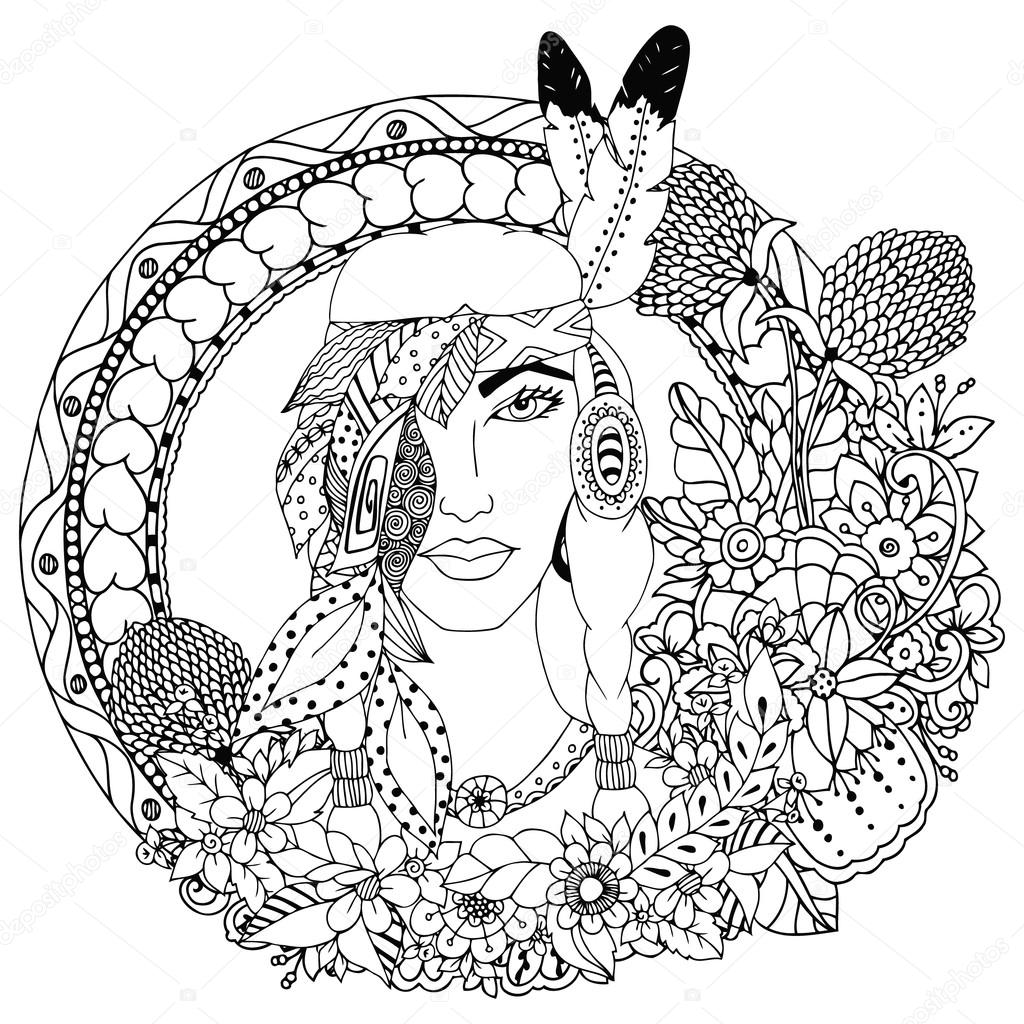 Vector Illustration Native American Girl In Round Frame