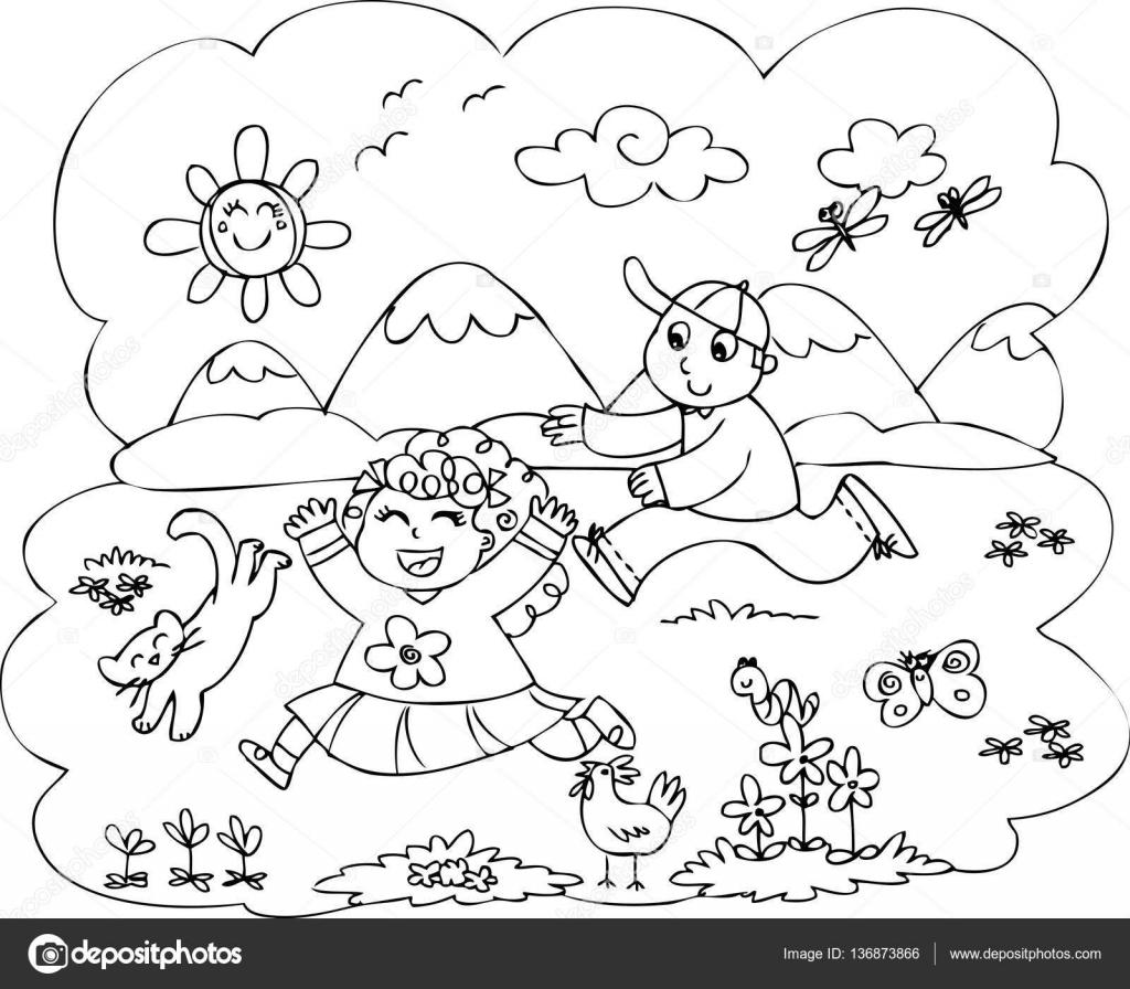 Dibujos Ninos Corriendo En El Campo