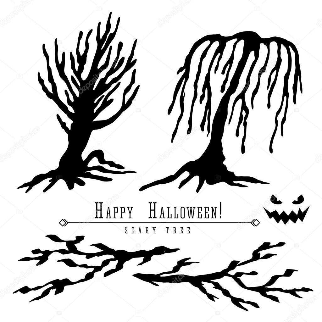 Silueta De Arboles Muertos De Miedo Vector Halloween