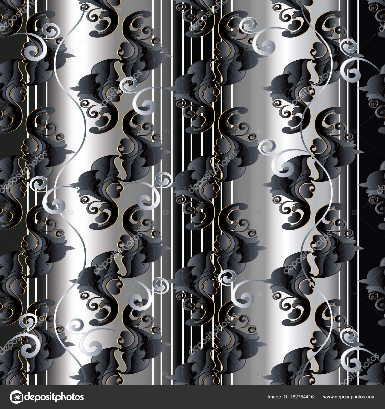 Black And White Vertical Striped Shower Curtain Baroque