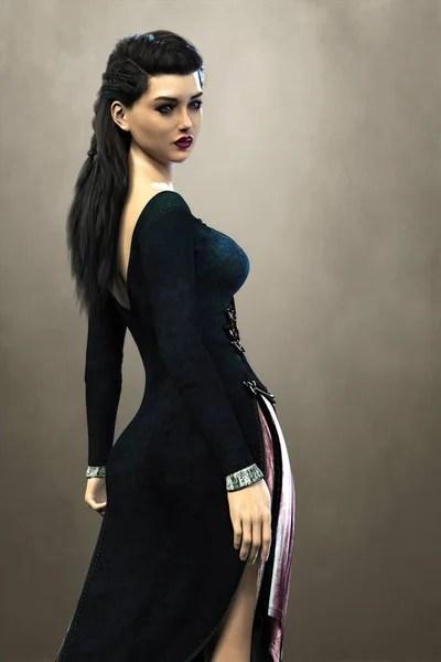 Красивая элегантная женщина-вампир, сидящая в красном ...