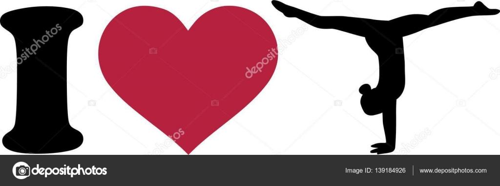 Download I love Gymnastics Silhouette — Stock Vector © miceking ...