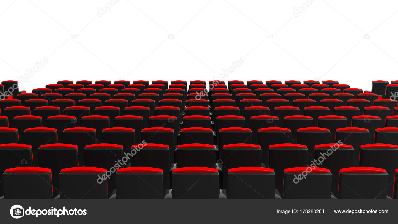 Cinema Chairs On White Background View From Behind Copyspace 3d Illustration Stock Photo C Gioiak2 178280284