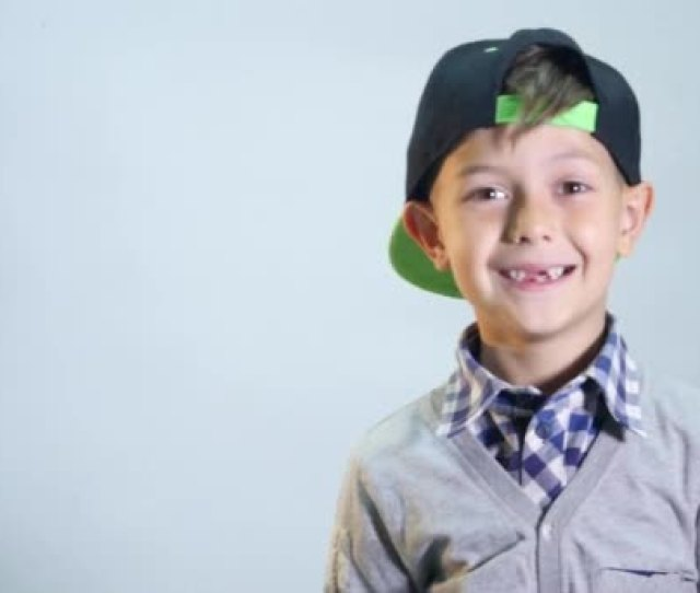 The Boy With Toothless Smile Laughs Hard On The White Background Stock Video