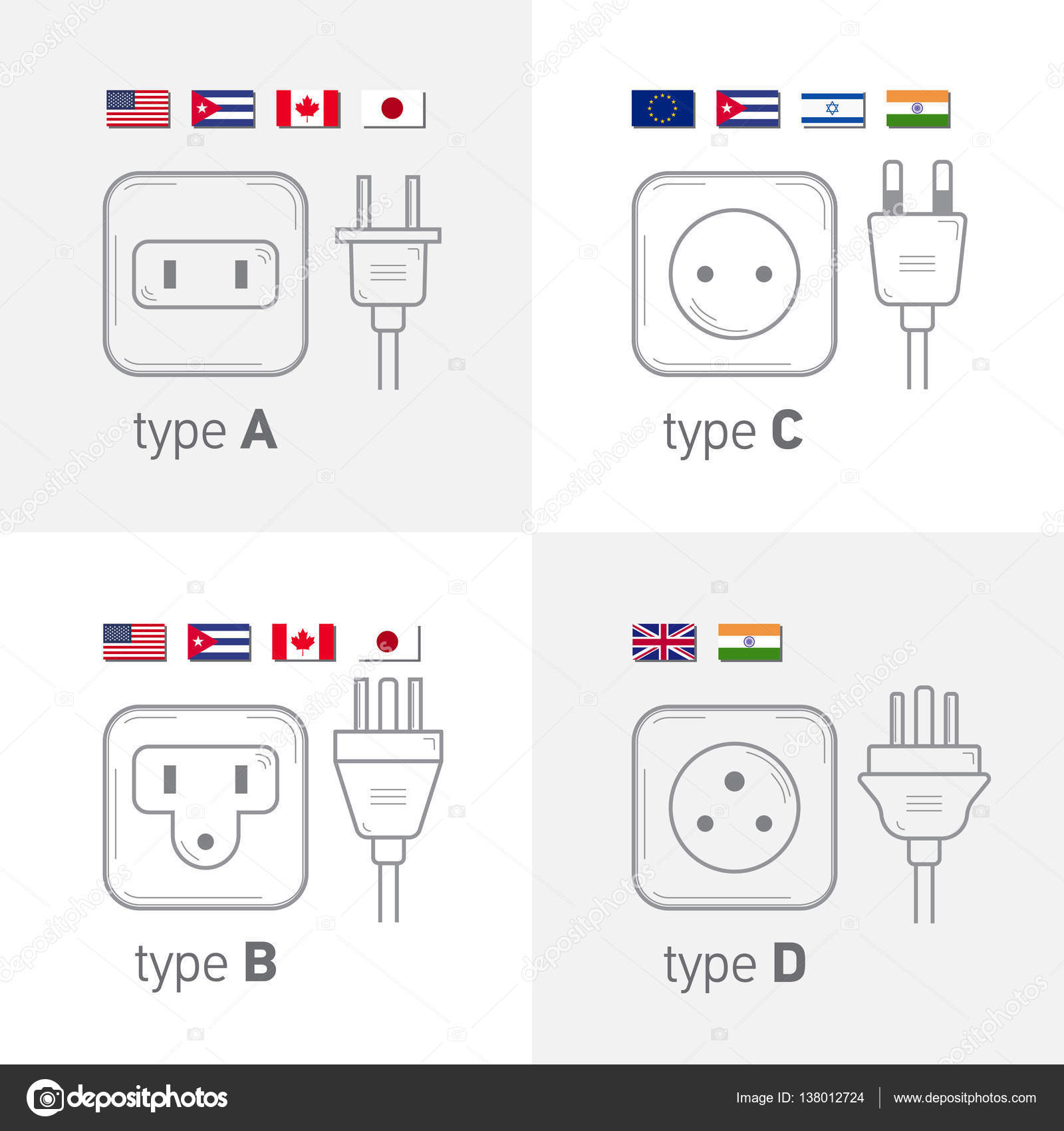 Different Type Power Socket Set Vector Isolated Icon