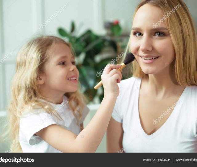 Mom Teaches Her Daughter How Use Makeup Beautiful Smiling Blond Stock Photo