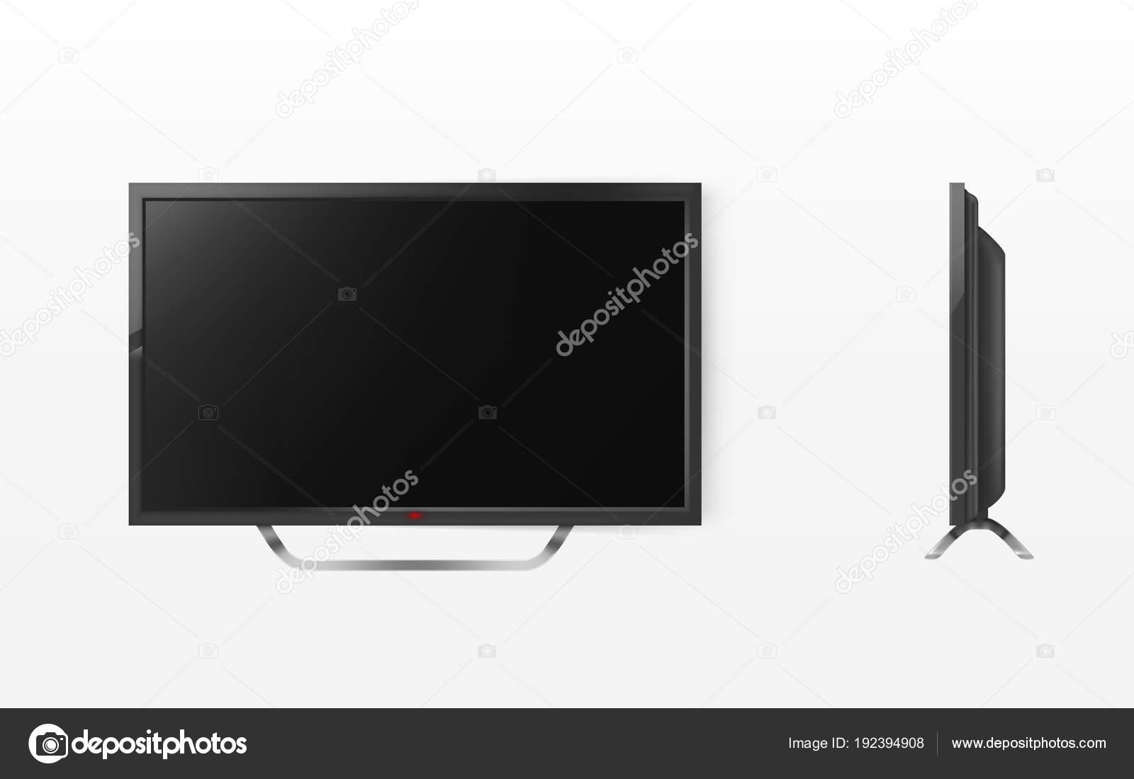 Vector Lcd Screen Mockup Tv Plasma Television Stock Vector