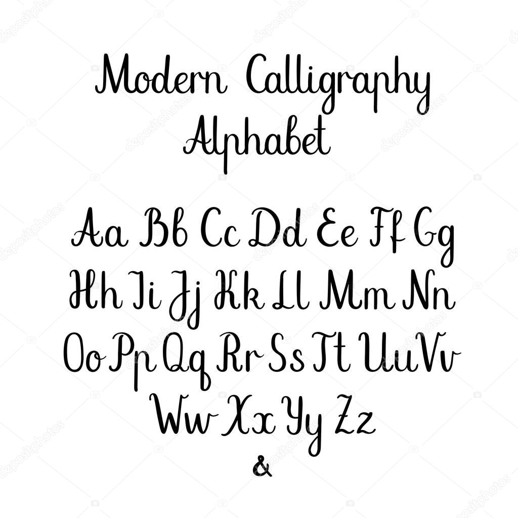 Cepillo Mano De Cartas Abc Caligrafia Moderna Mano Letras Vector Alfabeto