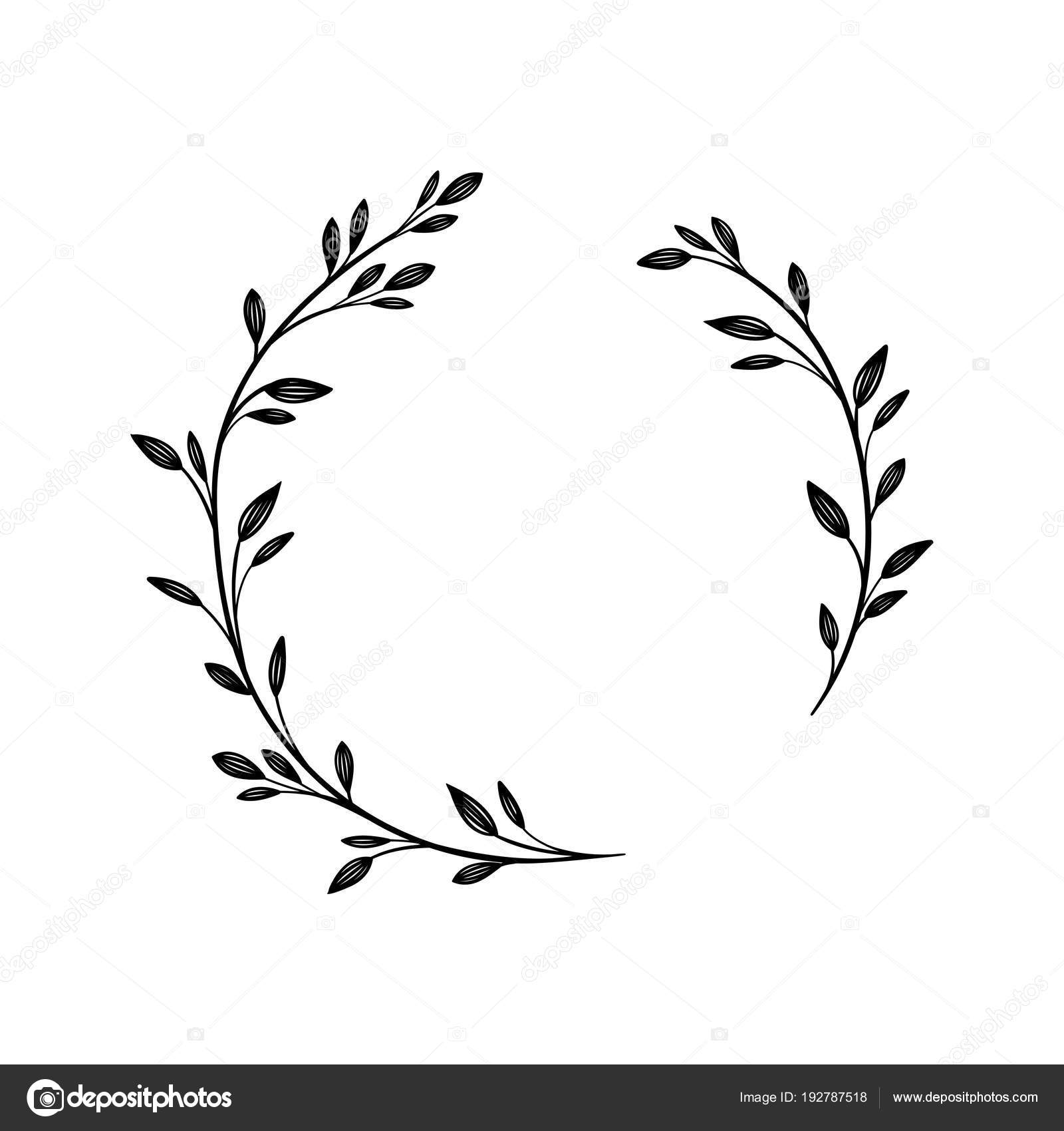Hand Drawn Vector Frame Floral Wreath For Your Text