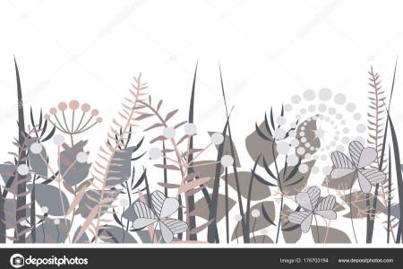 Vector decorative floral border with forest elements  Doodles     Vector decorative floral border with forest elements  Doodles background  for summer open air projects