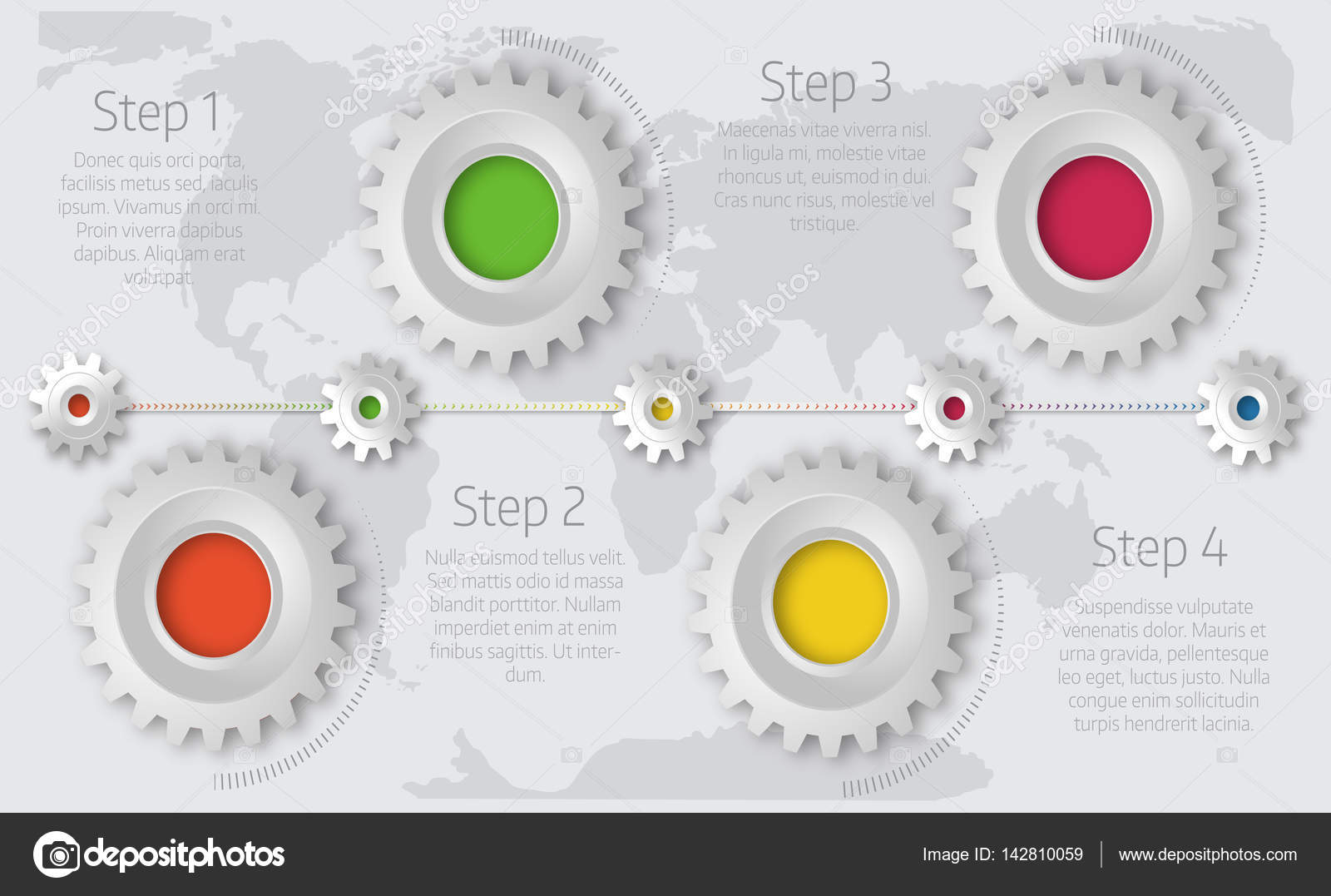 Infographics timeline template with realistic colorful gears for     Infographics timeline template with realistic colorful gears for     Stock  Vector