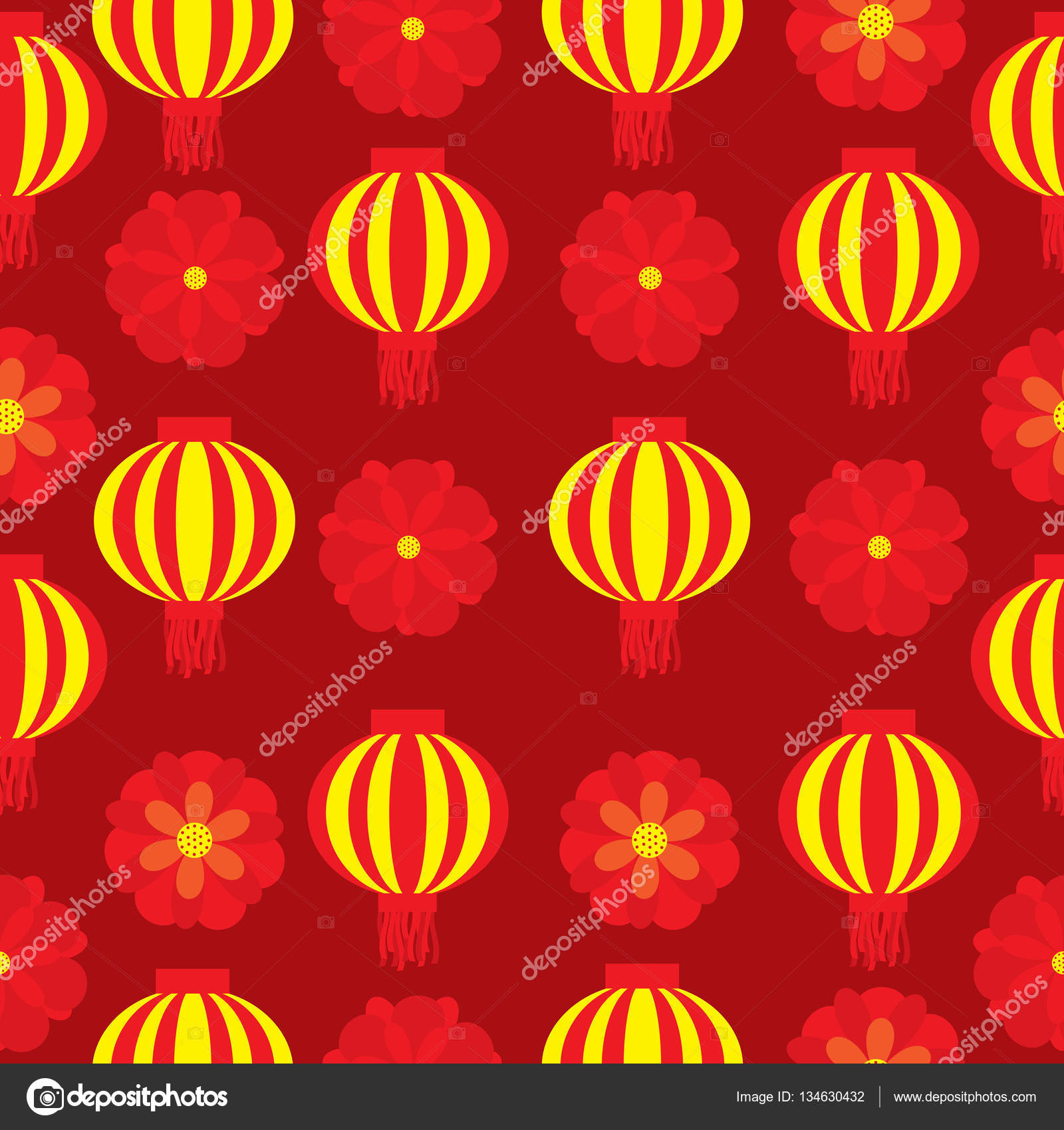 seamless background of chinese new year illustration with red