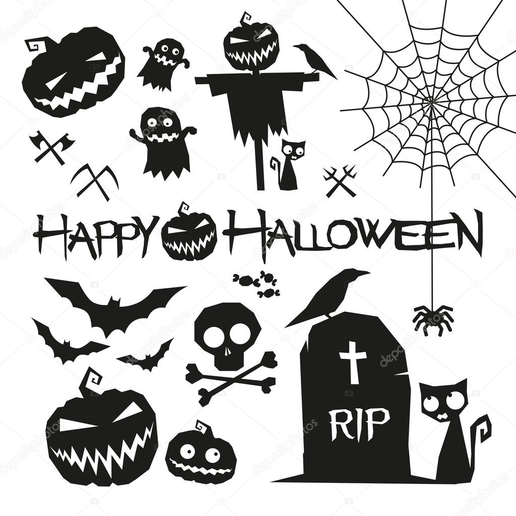 Halloween Elements Happy Halloween Vector Illustration