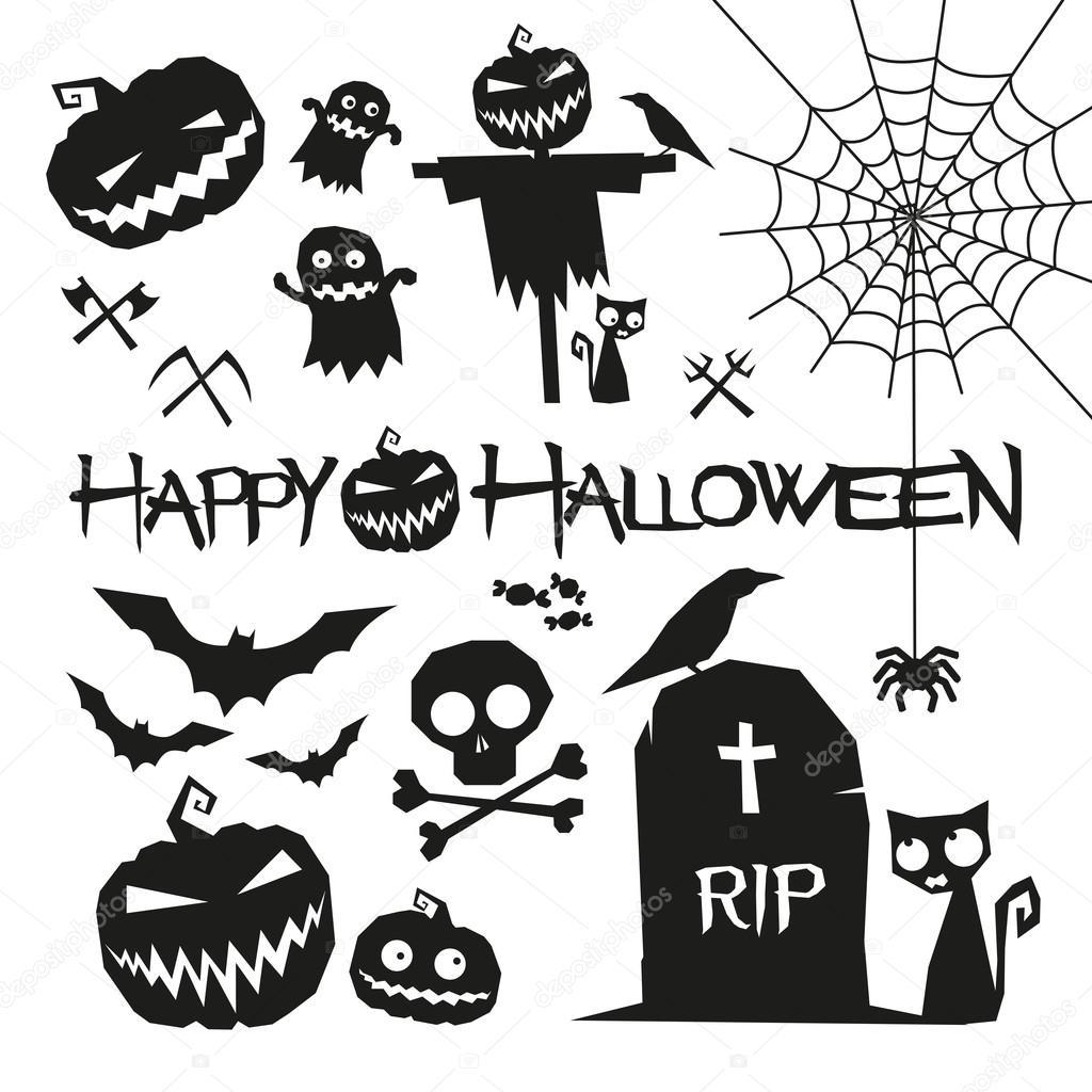 Halloween Elements Happy Halloween Vector Illustration