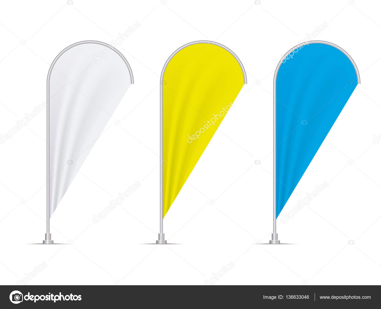 Psd mockup id 46339 in outdoor advertising mockups 3. Set Of Blank Colored Teardrop Flags Isolated On White Background Stock Vector Image By C Jackreznor 136633046