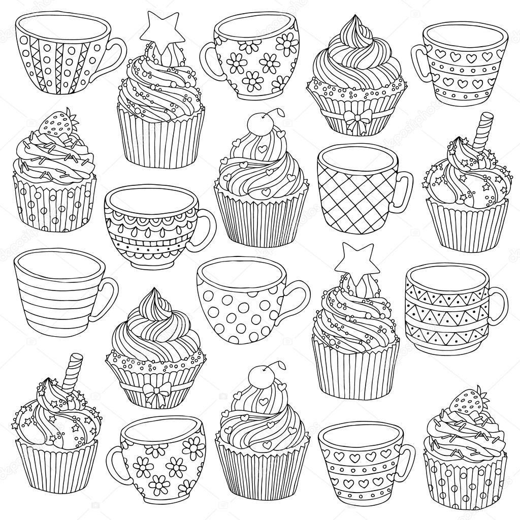 R Cznie Rysowane Puchar Cupcake Ilustracji Wektorowych Dla