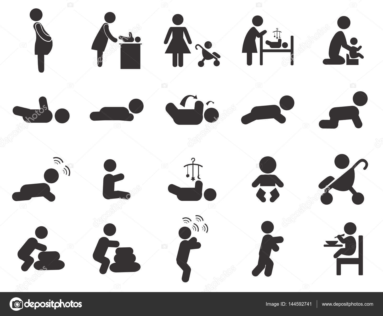 Baby Black Pictogram Pregnant Newborn Simple Icon