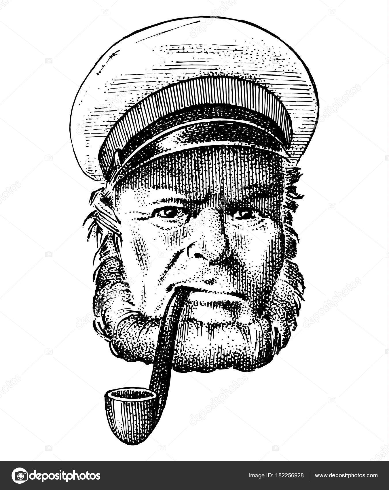 Sea Captain Marine Old Sailor With Pipe Or Bluejacket