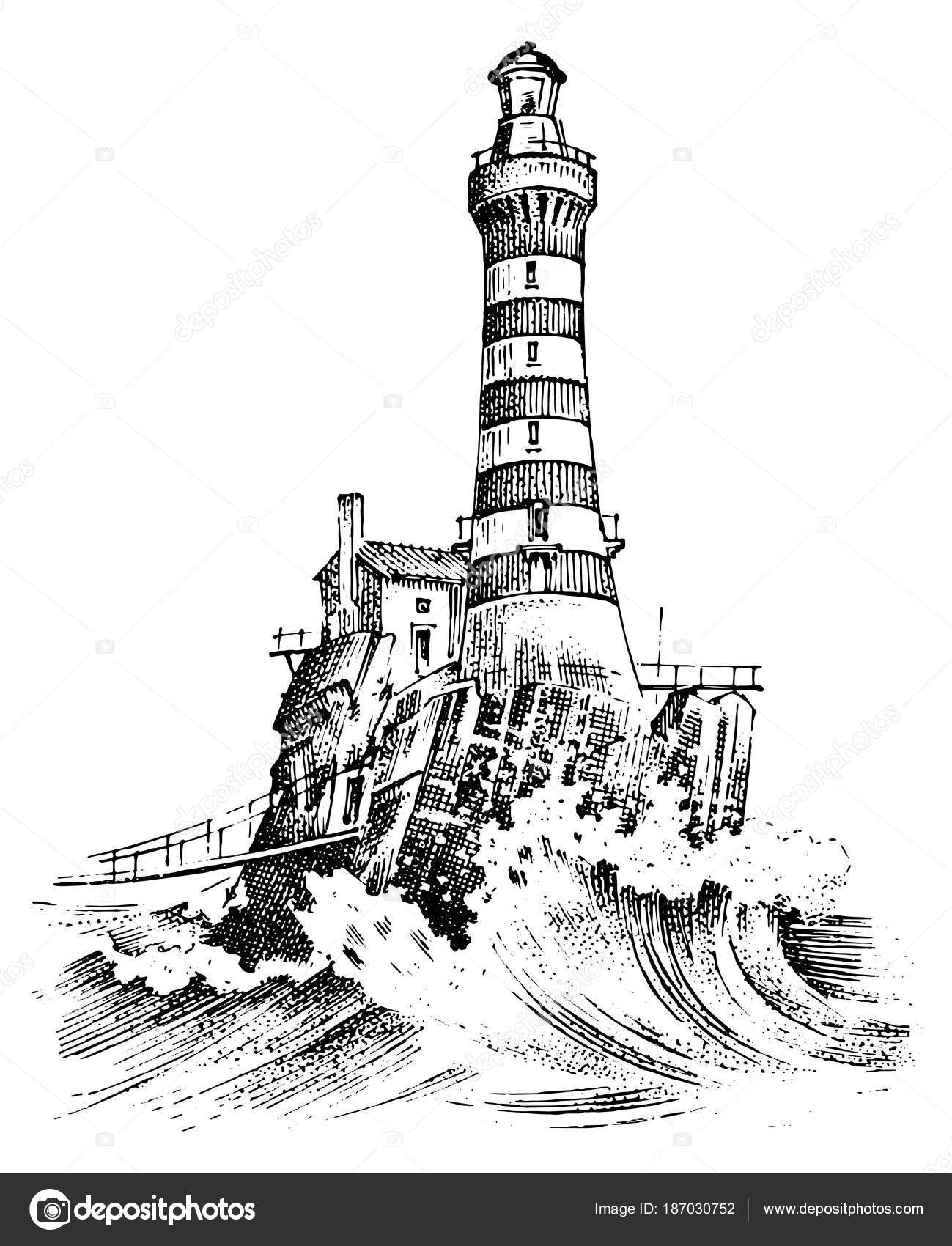 Lighthouse And Sea Marine Sketch Nautical Journey And