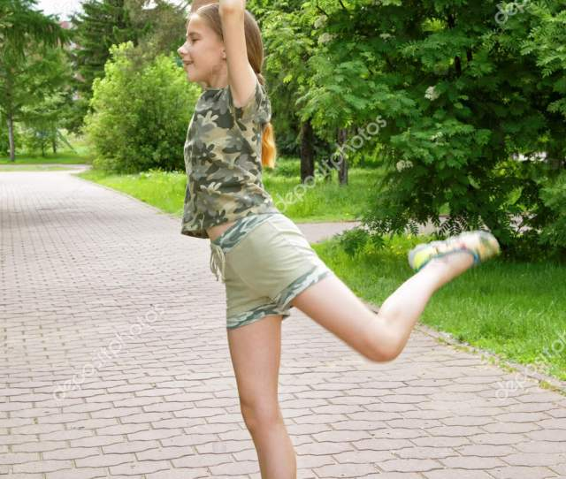 Slender Teen Girl Ice Cream Hand Dancing Park Enjoying Coming Stock Photo