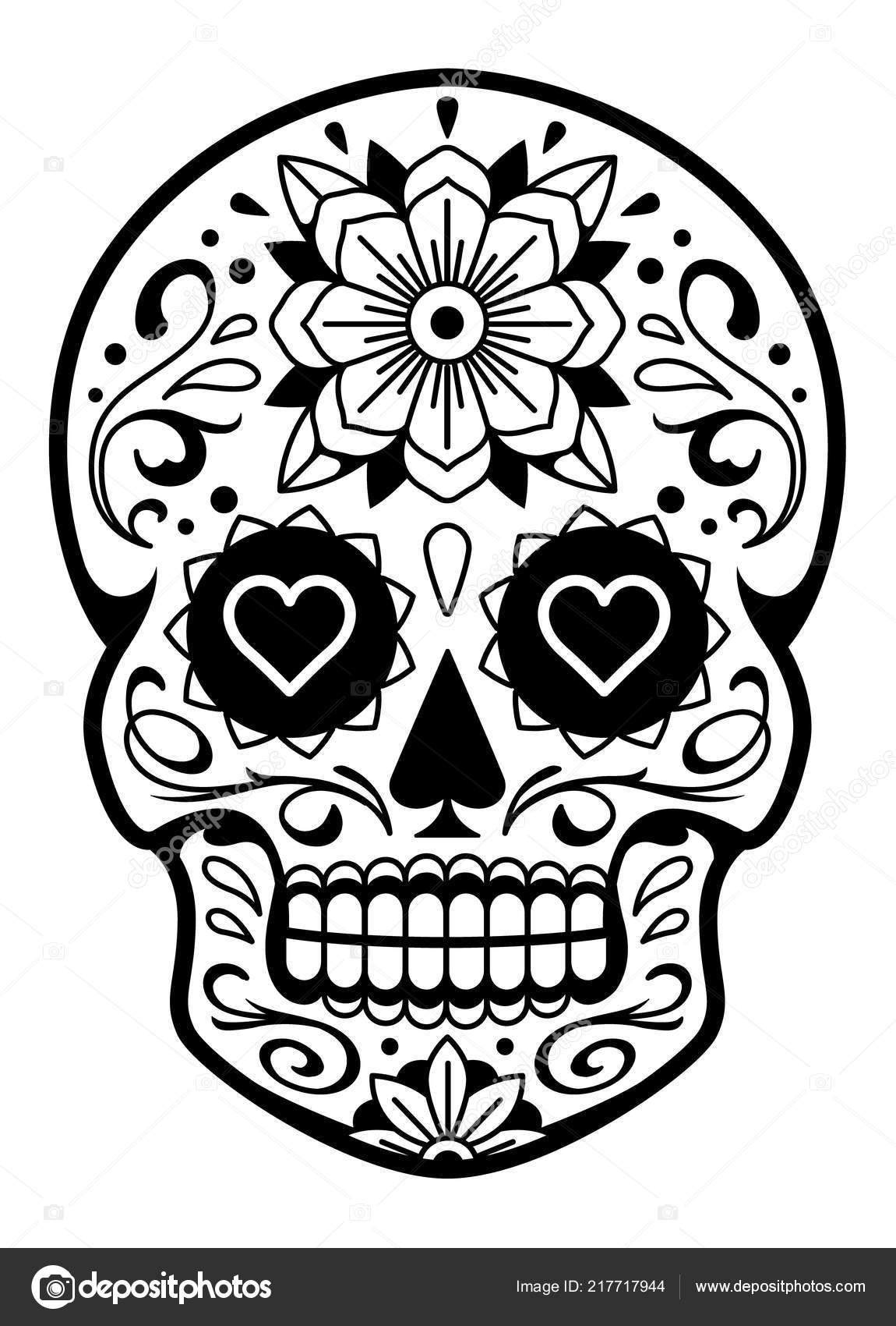 Vector Mexican Skull Patterns Old School Tattoo Style