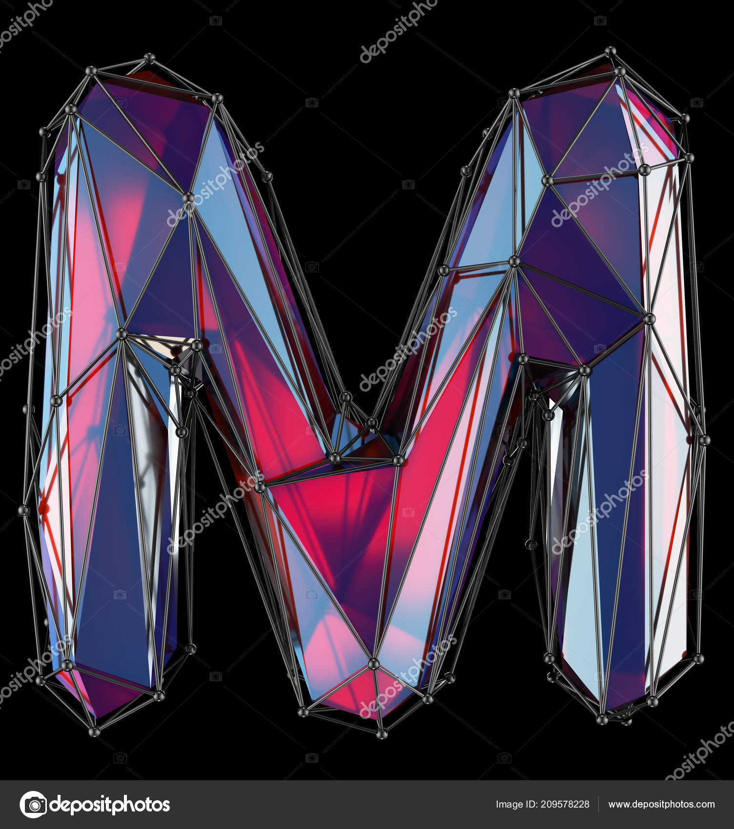 Capital Latin Letter M In Low Poly Style Red Color