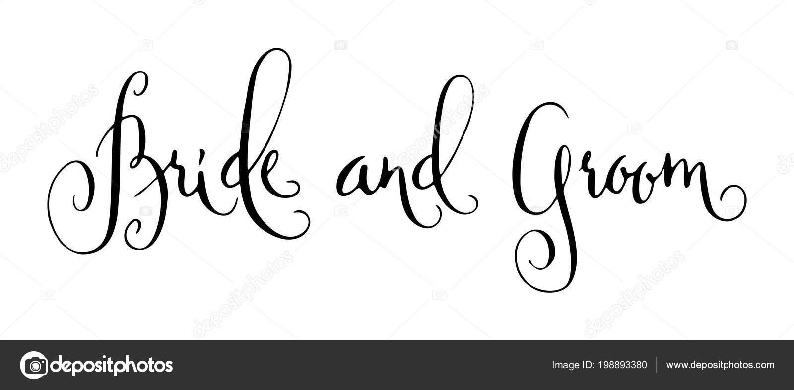 Bride Groom Wedding Words Hand Written Vector Design