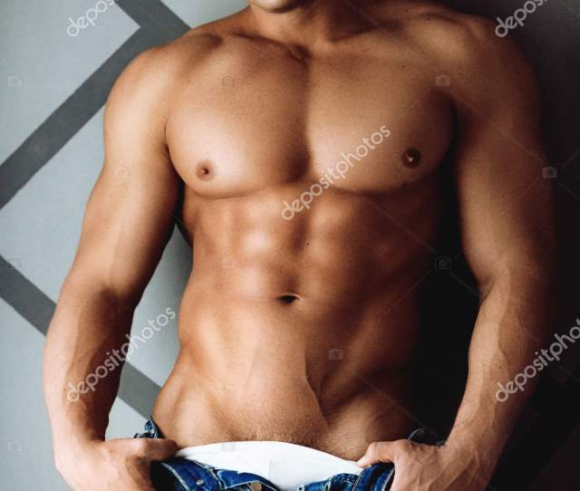 Portrait Strong Healthy Handsome Athletic Man Naked Torso Stock