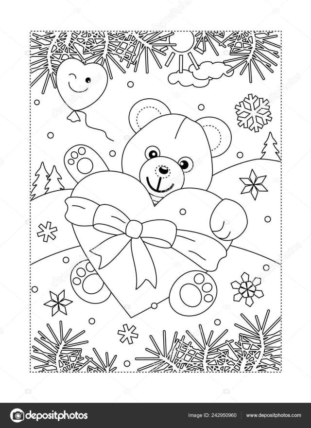 Valentine Day Coloring Page Children Adults Stock Vector Image by