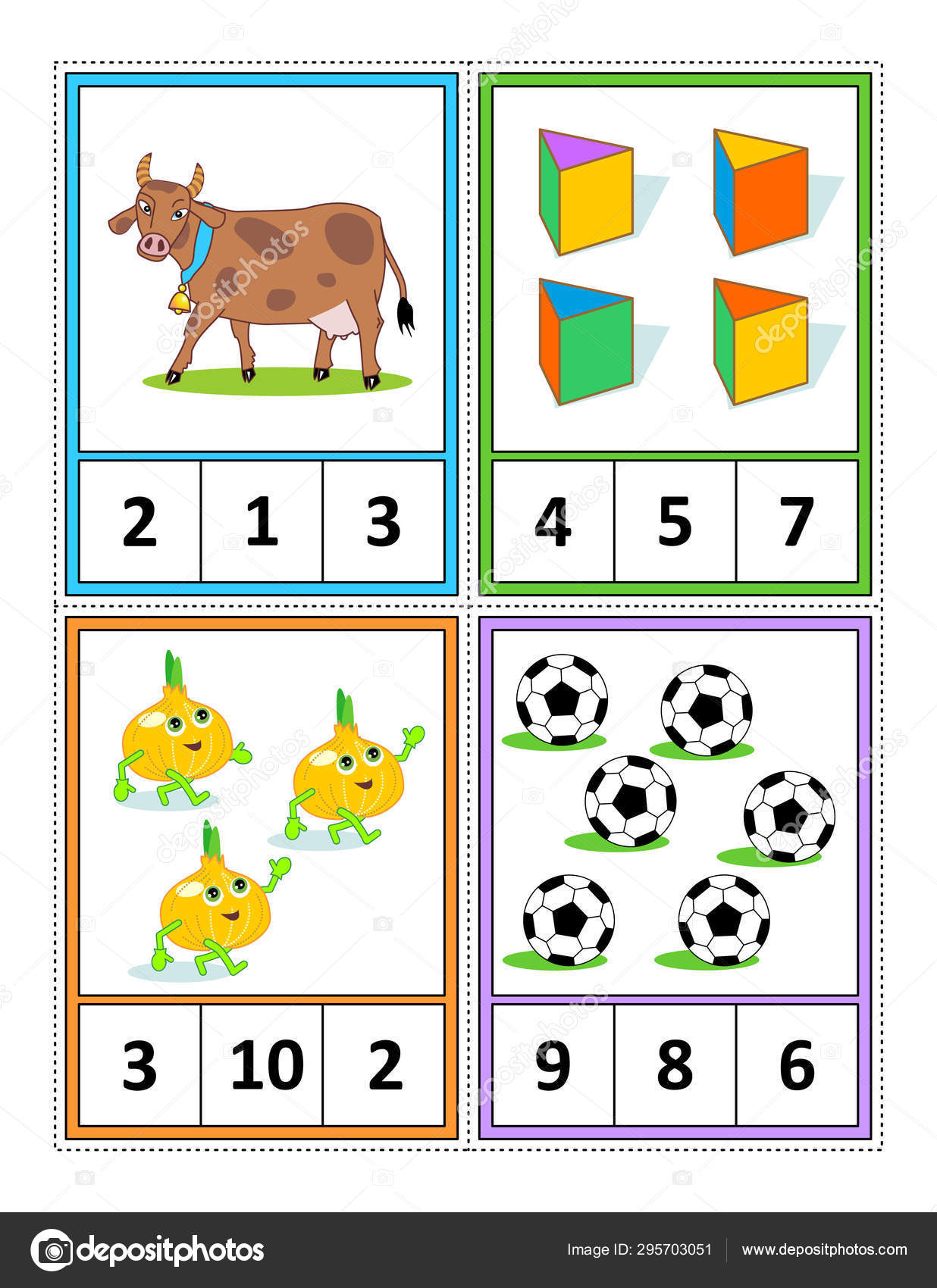 Autumn Season Themed Counting Practice Kids Worksheet Four