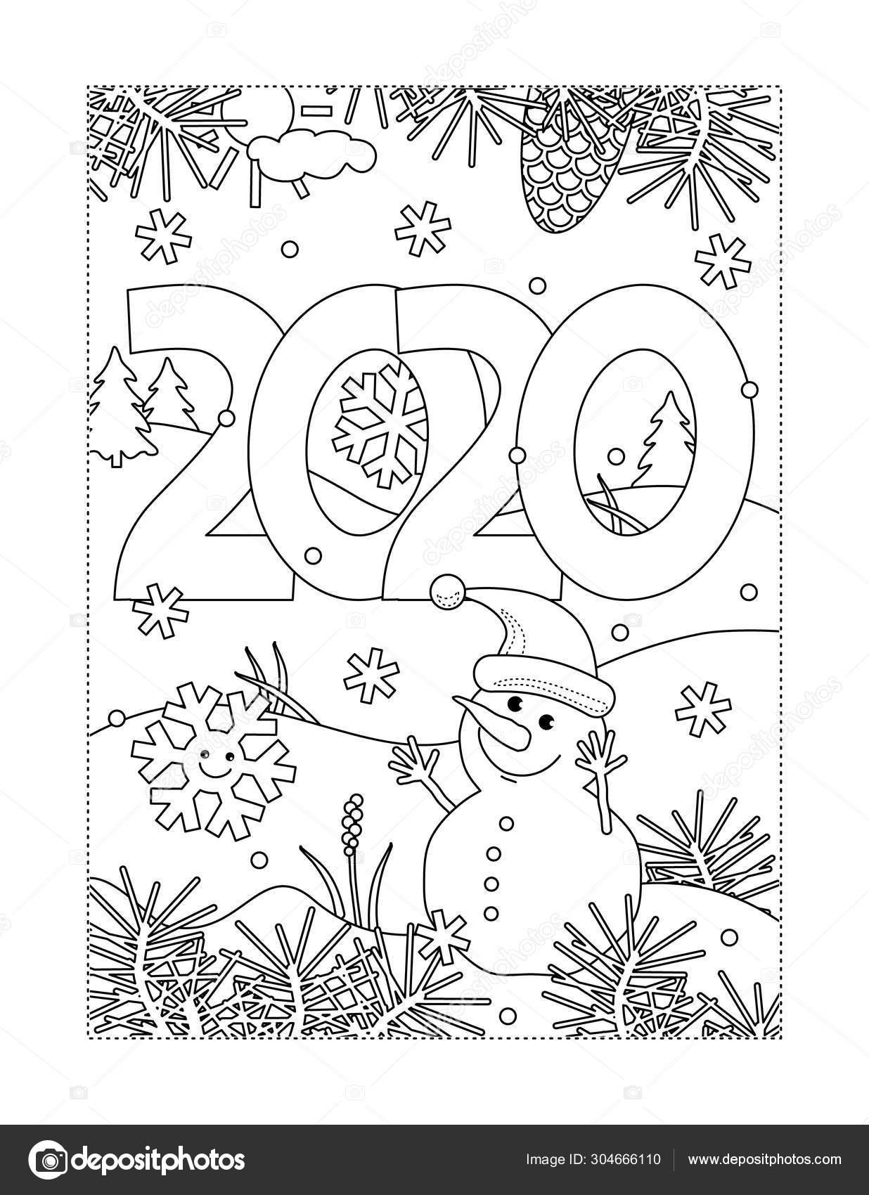 Winter Vakantie Nieuwjaar Kerst Vreugde Kleurplaat Met