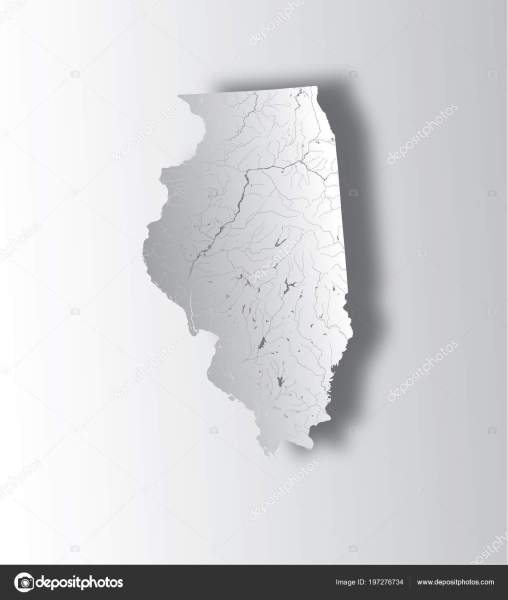 States Map Illinois State Paper Cut Effect Hand Made Rivers     Stock     U S  states   map of Illinois state with paper cut effect  Hand made   Rivers and lakes are shown  Please look at my other images of cartographic  series