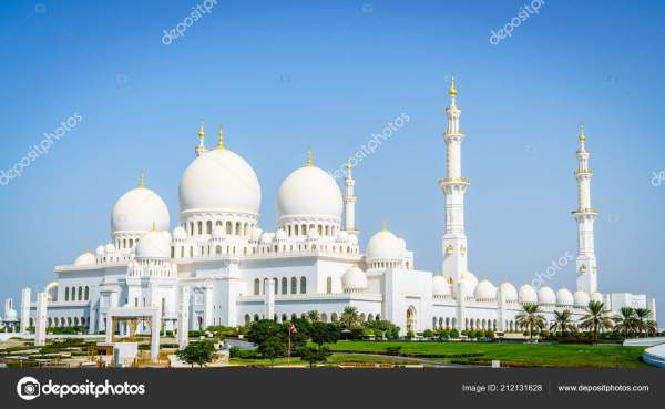 Вид Мечеть Шейха Зайда Абу Даби Оаэ – Стоковое ...