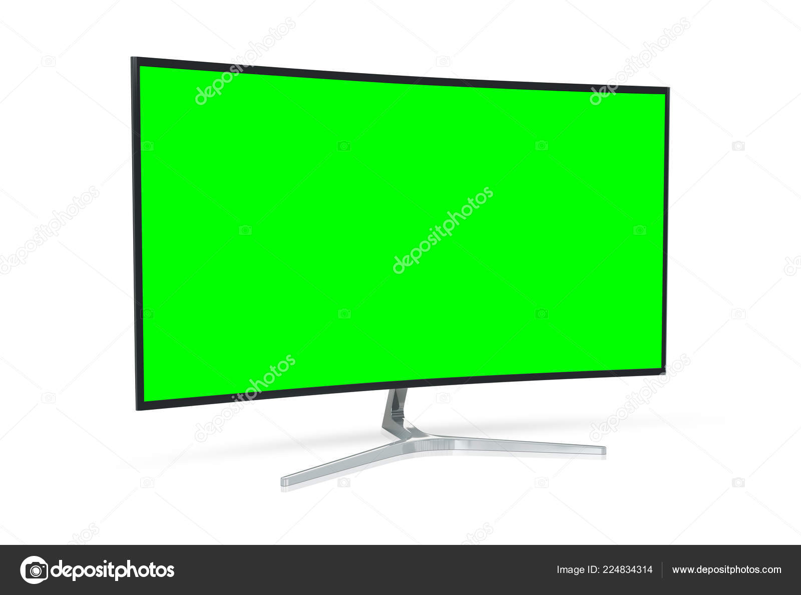 Modern Computer Monitor Mockup Isolated White Background Rendering