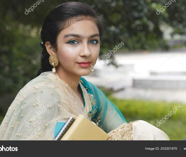Young Pakistan Girl Holding Books Smile Camera Stock Photo