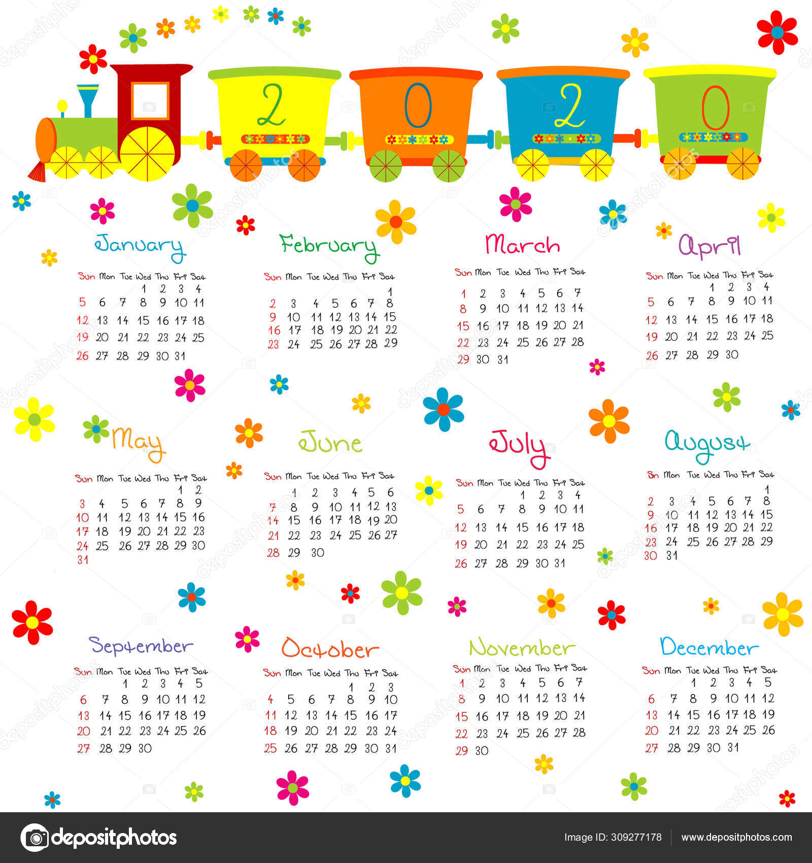 Calendar For Kids With Toy Train And Flowers