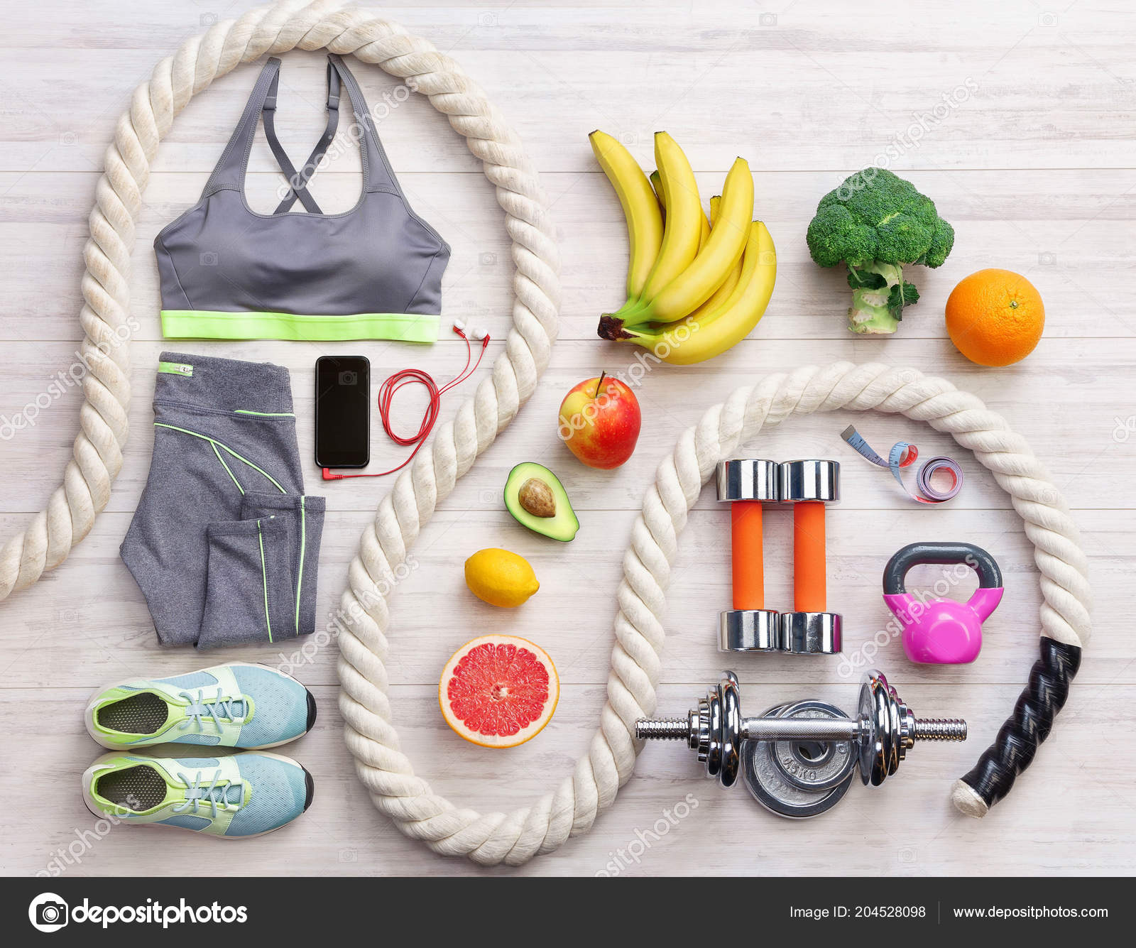 Sports Equipment Healthy Food White Wooden Background Top